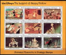MWD-BK4-220-1 MINT PF/MNH ¤ GRENADINES OF ST. VINCENT 1992 SHEET ¤ THE LEGEND OF SLEEPY HOLLOW - FRIENDS OF WALT DISNEY - Disney