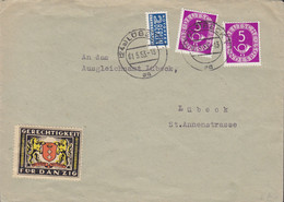 Bundespost LÜBECK 1953 Cover Brief NOTOPFER Steuermarke & GERICHTIGKEIT Für DANZIG Vignette - Covers & Documents