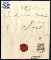 Cover 1859, Vollständiger Rekobrief Aus Graz Mit 15 Kreuzer Dunkelblau Und Rückseitig 10 Kreuzer Lilabraun (beide Type I - Sin Clasificación
