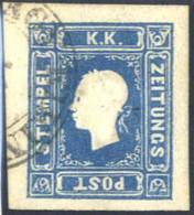 """O 1858, 1,05 Kreuzer Blau In Type I, Kartonpapier 0,13 Mm, Die Zeitungsmarke Ist Mit Dem Doppelkreisstempel """"Nagy Kikind - Sin Clasificación"""