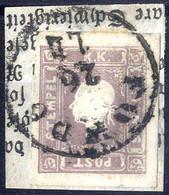Piece 1859, (1,05) Kr. Dunkellilla Auf Briefstück, Erlesenes Prachtstück, Signiert Dr. Ferchenbauer (ANK 17c) - Sin Clasificación