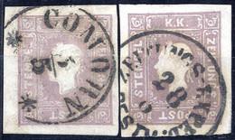 O 1859, (1,05) Kreuzer Graulila, Zwei Gestempelte Prachtstücke, Je Mit Befund Dr. Ferchenbauer VÖB (ANK 17a) - Sin Clasificación