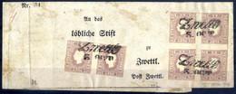 """Cover 1859, (1,05) Kreuzer Lila, Type II, Paar Und Viererblock, Jeweils Im """"Liliputschnitt"""" Auf Kompletter Schleife Nach - Sin Clasificación"""