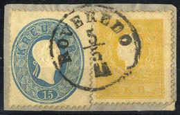 Piece 1858/61, Mischfrankatur 2 Kr. Dunkelgelb 1858 In Type I Mit 15 Kr. Blau 1861 Auf Briefstück Von Rovereto, Besonder - Sin Clasificación