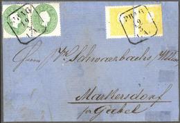"""Cover 1859/61, """"Abklatsch"""", Paar 3 Kr. Grün 1861 Mit Starkem Abklatsch (zur Kontrolle Abgelöst) In Mischfrankatur Mit Pa - Sin Clasificación"""