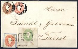 """Piece/cover 1861, """"Ganzsachenausschnitte"""", Lot 3 Kr. Grün Auf Briefstück, 5 Kr. Auf Briefstück Und Brief Mit 10 Kr. Brau - Sin Clasificación"""