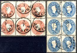 O 1861, 5 Kr. Rot, Waagrechter Sechserblock + 15 Kr. Blau, Senkrechter Sechserblock, Pracht (ANK 20,22) - Sin Clasificación