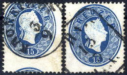 O 1861, Teilweise Vorderseitiger Wiederabklatsch, 15 Kr. Blau Mit Wiederabklatsch Von Einer Marke Und 15 Kr. Blau Mit Wi - Sin Clasificación