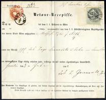Cover 1861, Gerichts-Retourrezepisse Von Wien 31.1.1863 Nach Semlin Mit 10 Kr. Braun Und 15 Kr. Stempelmarke Mit Fiskals - Sin Clasificación