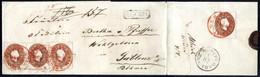 Cover 1861, Rekobrief Der 2. Gewichtsstufe Entwertet Mit Dem Roten Rekostempel Wien 9.3.1861, Frankiert Mit Vier Werten  - Sin Clasificación