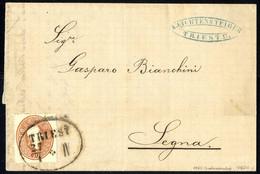 Cover 1861, Schiffsbrief Der 2. Entfernungsstufe Von Triest 27.4.1864 Nach Segna, Seltene Spätverwendung, Signiert Pusch - Sin Clasificación