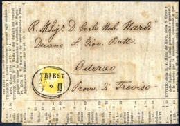 Cover 1863, 2 Kreuzer Gelb, Gez. 14 Auf Kompletter Preisliste Für Bücher Von Triest Am 25.7.1864 Nach Oderzo (Italien),  - Sin Clasificación
