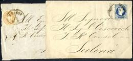 Cover 1863/67, 2 Briefvorderseiten Je Nach Rumänien, Eine Frankiert Mit 10 Kreuzer Wappen Gez. 9½ Von Triest Nach Tulcea - Sin Clasificación