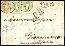 Cover 1861/64, Auslandsbrief Von Triest 9.3.1864 über Ancona Nach Giovinazzo Mit Mischfrankatur 3 + 3 Kr. 1861 + 15 Kr.  - Sin Clasificación