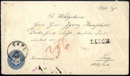 Cover/bof 1863, Umschlag 10 Kr Blau Kopfstehend Verwendet Als Reko-Brief Mit Rs. 10 Kr Von Tepl Nach Prag – Interessant! - Sin Clasificación