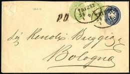 Cover 1863/64, Auslands - Umschlag 10 Kr. Blau Mit Zusatzfrankatur Paar 3 Kr. Grün Von Triest 26.1.1867 Nach Bologna, La - Sin Clasificación