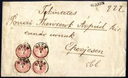 Cover/bof 1864, 5 Kr Rosa 4er Block Als Vollständige Reko-Frankatur Auf Brief Von Ofen Am 19.1. Nach Eperjesr, ANK 32 /  - Sin Clasificación