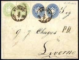 Cover 1864, Auslandsbrief über Fünf Sektionen Von Brody 3.9.1867 Nach Livorno Mit Zwei Stück 3 Kr. Grün + Paar 10 Kr. Bl - Sin Clasificación