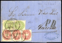 Cover 1864, Auslandsbrief über Vier Sektionen Von Triest 12.1.1866 über Mailand Nach Ancona Für 21 Kr. Mit Paar 3 Kr. Gr - Sin Clasificación