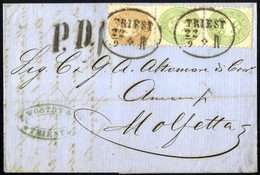 Cover 1864, Auslandsbrief über Vier Sektionen Von Triest 22.9.1866 Nach Molfetta Mit Paar 3 Kr. Grün Und 15 Kr. Braun Fr - Sin Clasificación