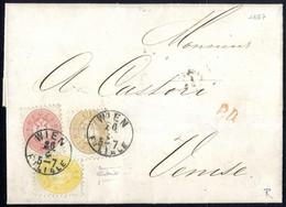Cover 1864, Auslandsbrief über Vier Sektionen Von Wien 26.4.1867 Nach Venedig Mit Dreifarbenfrankatur 2 Kr. Gelb + 5 Kr. - Sin Clasificación