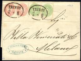 Cover 1864, Auslandsbrief über Zwei Sektionen Von Triest 3.6.1867 Nach Mailand Mit Zwei Stück 3 Kr. Grün Und Paar 5 Kr.  - Sin Clasificación
