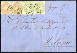 Cover 1864, Brief Der 2. Gewichtsstufe über 3 Sektionen Von Wien 8.12.1866 Nach Mailand überfrankiert Mit Paar 3 Kr. Grü - Sin Clasificación
