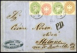 Cover 1864, Brief über Fünf Sektionen Von Wien - Unter Meidling 18.3.1866 Nach Mailand Mit Zwei Stück 3 Kr. Grün + 5 Kr. - Sin Clasificación
