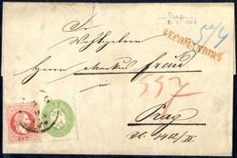 Cover/bof 1864, Ortsreko-Brief Von Prag, 2.6.1868, Mit Vorderseitiger Mischfrankatur 3 Kr 1864 Mit 5 Kr 1867 – Nicht Häu - Sin Clasificación