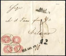 Cover 1864, Unterfrankierter Auslandsbrief Der 2. Gewichtsstufe Von Triest 30.5.1866 Nach Mailand Mit Zwei Paaren 5 Kr.  - Sin Clasificación