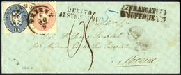 Cover 1864, Unterfrankierter Auslandsbrief Von Triest 30.9.1864 Nach Modena Mit 5 Kr. Rosa + 10 Kr. Blau Frankiert, Lang - Sin Clasificación