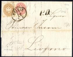 Cover 1866, Brief Aus Triest Vom 22.11. Nach Livorno Mit 5 Und 15 Kreuzer, Interessantes Porto, ANK 20+21 / Fe. 350.- - Sin Clasificación