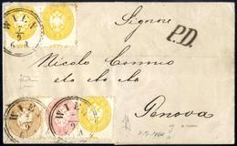 Cover 1866, Brief Aus Wien Vom 7.9. Mit Drei Stück 2 Kreuzer, Einer 5 Und 10 Kreuzer Nach Genua, Pracht, ANK 30+32+34 /  - Sin Clasificación
