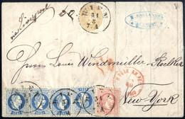 Cover/bof 1867, 3 Farben-Mischfrankatur 15 Kr 1864 Mit 1867 4x10 Kr + 5 Kr (dieser Leichter Bug) Auf Brief Vom 31.8.1867 - Sin Clasificación