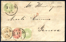 Cover 1867, Brief Aus Wien Vom 13.2. Mit Zwei Stück 3 Kreuzer, Einer 5 Und 10 Kreuzer Nach Genua, Pracht, ANK 31+32+34 / - Sin Clasificación