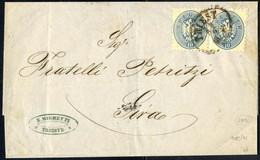 Cover 1868, Brief Vom 28.9. Von Triest Nach Sira, Gemäß Vertrag Vom 13.5.1868 Mit Einem Waagrechten Paar 10 Kr. Blau, Ge - Sin Clasificación
