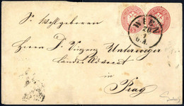 Piece/cover 1863/64, Lot Mit Zwei Briefen Und Fünf Zweifarben-Briefstücken, Dabei Kreuzer Umschlag Mit Wertgleicher Zusa - Sin Clasificación