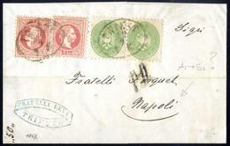 Cover 1864/67, Auslandsbrief über Drei Sektionen Von Triest 19.9.1867 Nach Neapel Mit Mischfrankatur Paar 3 Kr. Grün, Au - Sin Clasificación