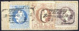 """Piece 1867, """"Dreifarbenfrankatur"""", 10 Kr. Blau + 25 Kr. Violett + 50 Kr. Braun Auf Briefstück Von Triest, Seltene Pracht - Sin Clasificación"""