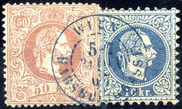 O 1867, 10 Kr. Blau (rückseitig Kleine Dünne Stelle) + 50 Kr. Bräunlichrosa, Beide Grober Druck, Zusammengehörig Mit Bla - Sin Clasificación