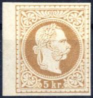 (*) 1867, 5 Kr. Gelbbraun Ungezähnter Probedruck Auf Dünnem Papier, Ungebrauchtes Randstück Ohne Gummi, Einwandfrei Erha - Sin Clasificación