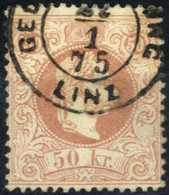 O 1867, 50 Kreuzer Bräunlichrosa, Type I Gestempelt GE(LD-ANW)SNG Linz 1.75, Signiert Seitz, Befund Goller, ANK 41 I C / - Sin Clasificación