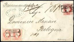 Cover 1867, Rekommandierter Umschlag 5 Kr. Mit Zusatzfrankatur Zwei 5 Kr. Vorne Und Zwei 5 Kr. Rückseitig Von Triest 3.9 - Sin Clasificación