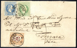 """Cover 1867, Unterfrankierte Auslands - """"Briefvorderseite"""" Von Wien Alsergrund 25.10.1870 Nach Ferrara Mit 3 Kr. Grün Und - Sin Clasificación"""