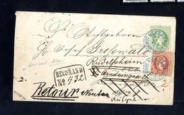 Cover 1871, Umschlag Mit Werteindruck 3 Kr. Grün Mit Zusatzfrankatur 5 Kr. Rot Als Ortsrekobrief In Wien Neubau Gesendet - Sin Clasificación