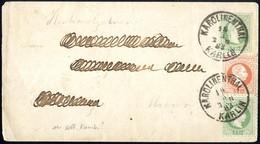 Cover 1874, Umschlag 3 Kr. Mit Vorderseitiger Zusatzfrankatur 3 Kr. Grün Und 5 Kr. Rot, Feiner Druck, Von Karolinenthal  - Sin Clasificación