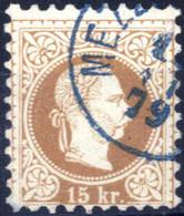 O 1874/84, 15 Kreuzer Braun, Type II, Blau Gestempelt Mezz... 11.79, ANK 39 II / 200,- - Sin Clasificación
