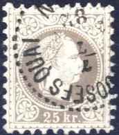 O 1874/84, 25 Kreuzer Lilagrau, Type II Gestempelt Josefsquai 7.7.82, Signiert Seitz, ANK 40 II / 225,- - Sin Clasificación