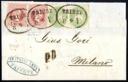 Cover 1964/67, Auslandsbrief über Zwei Sektionen Von Triest 13.8.1867 Nach Mailand Für 16 Kreuzer Mit Mischfrankatur Paa - Sin Clasificación