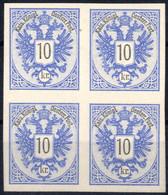 (*) 1883, 10 Kreuzer Ungummierte Bogenprobe Auf Grauweißem Kartonpapier Im Viererblock, Fe. 240,- - Sin Clasificación